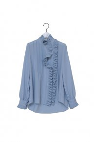 new: pleats frill blouse/ blue