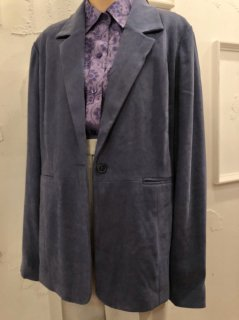 Vintage Faux Suede Tailored Jacket Blue Grey