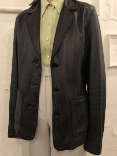 Vintage Black Leather Tailored Jacket