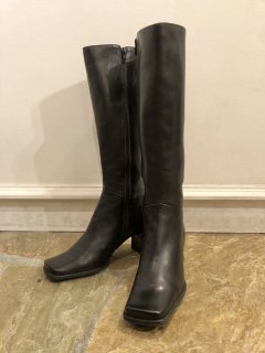 Vintage Black Leather Long Heel Boots 25.5cm