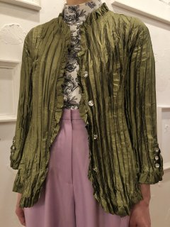 Vintage Pleated Moss Green Satin Shirt M
