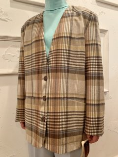Vintage/Deadstock Plaid Collarless Tailored Jacket sizeL