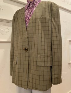Vintage Olive Plaid Collarless Tailored Jacket sizeXL