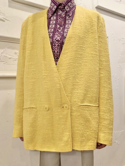 Vintage Yellow Collarless Tailored Jacket M~L