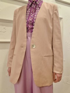 Vintage Pale Pink Collarless Tailored Jacket sizeS
