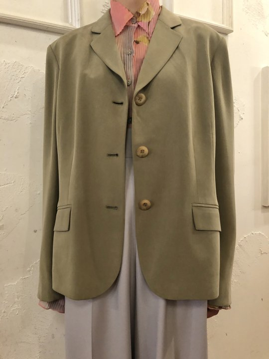 Vintage Moss Green Silk Tailored Jacket L