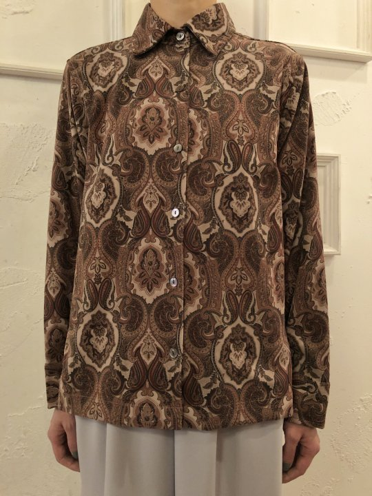 Vintage Paisley Print Faux Suede Shirt S<img class='new_mark_img2' src='https://img.shop-pro.jp/img/new/icons50.gif' style='border:none;display:inline;margin:0px;padding:0px;width:auto;' />