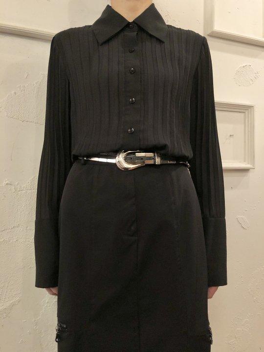 Vintage Black Accordion Pleat Shirt S
