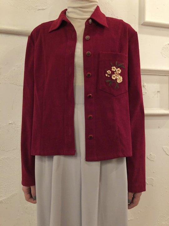 Vintage Faux Suede Shirt Jacket S