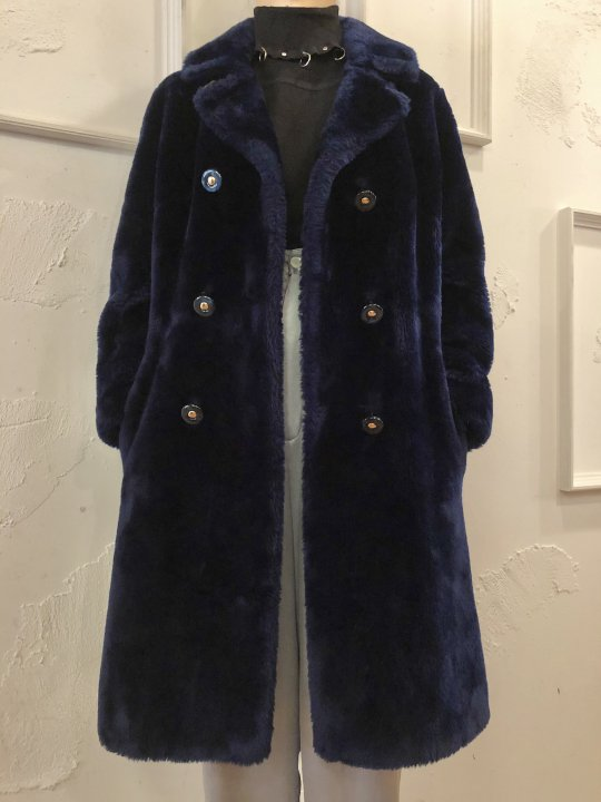Vintage Navy Faux Fur Long Coat M<img class='new_mark_img2' src='https://img.shop-pro.jp/img/new/icons50.gif' style='border:none;display:inline;margin:0px;padding:0px;width:auto;' />