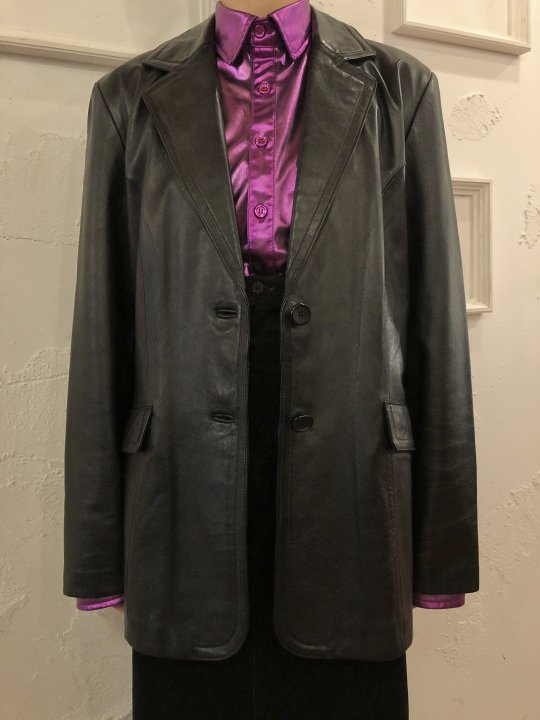Vintage Leather Tailored Jacket Black L<img class='new_mark_img2' src='https://img.shop-pro.jp/img/new/icons50.gif' style='border:none;display:inline;margin:0px;padding:0px;width:auto;' />