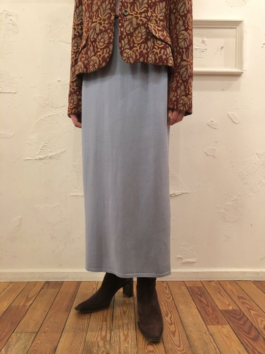 Vintage Blue Gray Long Knit Skirt S