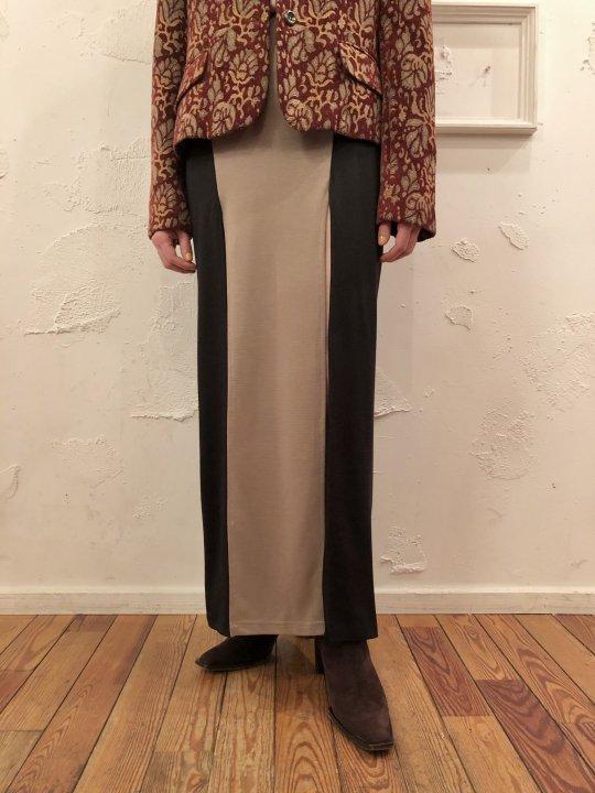 Vintage/Deadstock Black/Beige Double Slit Skirt S