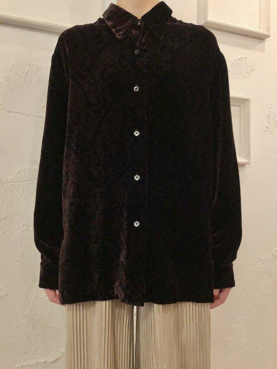 Vintage Paisley Print Black Velour Shirt M