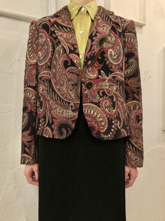 Vintage Paisley Jacquard Jacket Black M