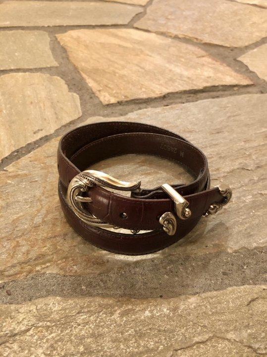Vintage Brown Leather Belt M-L