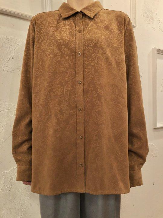 Vintage Paisley Print Faux Suede Shirt Beige M/L