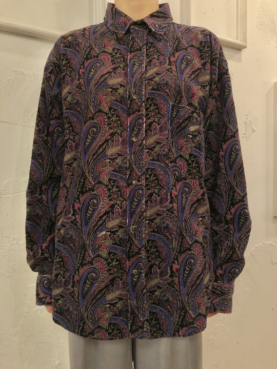 Vintage Paisley Print Corduroy Shirt Black M