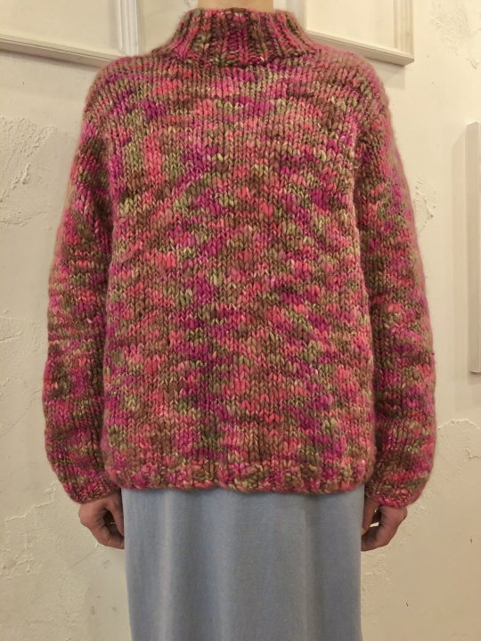 Vintage Multi Color Hand Knit Sweater S