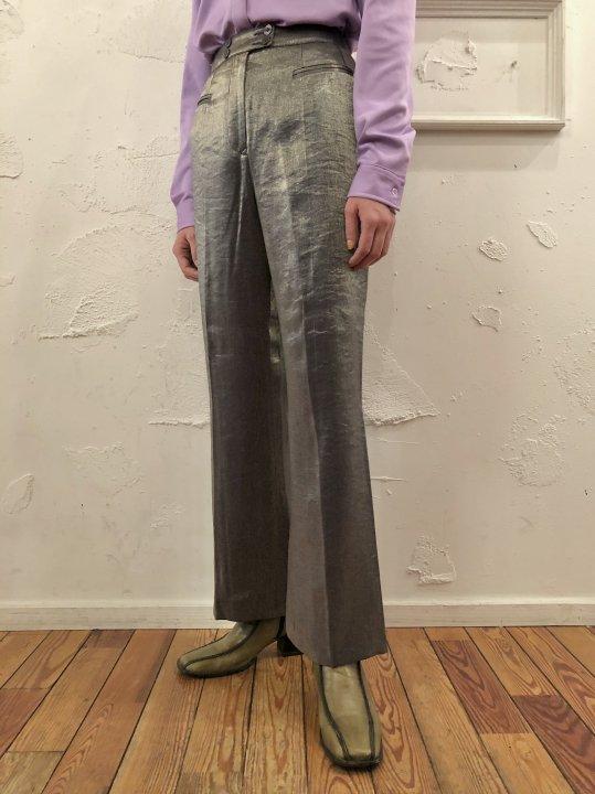 Vintage Metallic Silver Flare Pants M/L