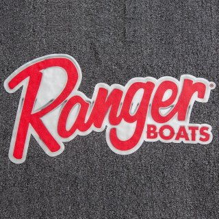 【Ranger Boats レンジャーグッズ】30×16.25/RANGER CARPET DECAL - SCRIPT LOGO WITH CHROME